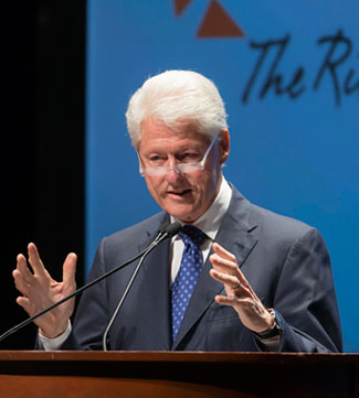President Bill Clinton spoke to a sold-out audience at the Peace Center Tuesday night on behalf of the Riley Institute.